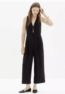 Madewell 4 Jumpsuit Baxter Black Sleeveless Mesh Back V Neck Pockets Wide Leg
