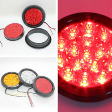 2x 13cm Round LED Light Red Car Truck Trailer Camper Taillight Stop Lamp 12-24V