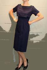 S VTG 1950s NAVY DRESS APPLIQUE OVERLAY BLUE PIQUE WEAVE  PINUP 60s PENCIL SKIRT