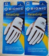 BIONIC RelaxGrip Women's Left Large Golf Glove Pack of Two Caramel/White NEW NIP
