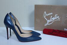 New sz 7.5 / 37.5 Christian Louboutin IRIZA Blue Leather Pointed Toe Pump Shoes