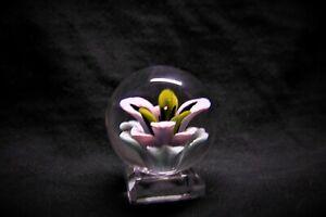 TJ art Glass white/blue flower implosion Borosilicate marble