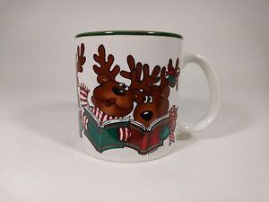 Vintage 1987 Carroling Reindeer Coffee Cup Mug by Marvelous Mugs Potpourri Press