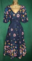 New BODEN UK 8-10 Dark Blue EMILIE Floral Fit&Flare VNeck Midi Tea Wedding Dress