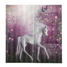 3D Unicorn Printing Ready Made Curtains Eyelet Ring Top Drape,2Panel, 59x65""