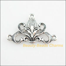 8Pcs Tibetan Silver Tone Triangle Flower Charms Connectors 20x31mm