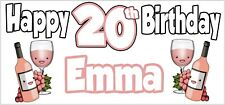 Rose Wine 20th Birthday Banner x2 Party Decoration Ladies Daughter ANY NAME