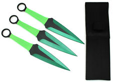 "Snake Eye Tactical GREEN 3 Piece Two Tone Throwing Knife Set w/ Sheath 9"""