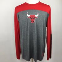 NBA Chicago Bulls Long Sleeve XL Team T-Shirt Stretchy Red & Gray Spell-out