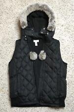 Ann Taylor Loft Black Quilted Puff Vest Detachable Hood Size SMALL Fur Pom Poms