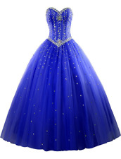 Sweetheart Quinceanera Dresses Beads Long Prom Formal Strapless Ball Gown Custom