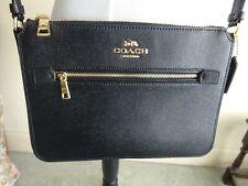 Coach Cross Grain Leather Cross Body Black Envelope Wallet Bag Brand new