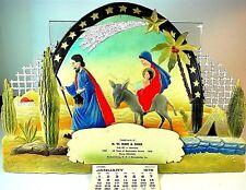 """Vintage German """"FLIGHT TO EGYPT"""" 1958 Advertising Calendar EMBOSSED DIECUT Mint"""