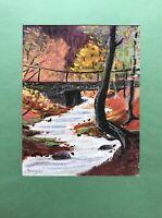 Horst Dumann Herbsttag im Wald am Fluß mit Brücke Deutschland