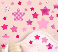 Pink Stars - Pack of 46 - Wall Art Vinyl Stickers Girls Bedroom Murals Decals