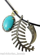 Nail & Turquoise Pendant Necklace Mesmerizing Rose Cut Diamond Fern Leaf,Tiger