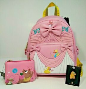 DISNEY LOUNGEFLY CINDERELLA 70TH MINI BACKPACK PIN COIN WALLET PURSE PINK DRESS