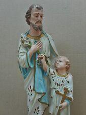 ANCIENNE STATUE RELIGIEUSE/SAINT JOSEPH ET L'ENFANT JESUS/PLATRE/H.42,5 cm/ N°8