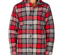 Burton Boys Lynx Flannel Hoody Shirt (M) Burn Revolt Plaid