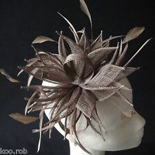 Coffee Sinamay and Feather Fascinator For Races, Proms , Weddings