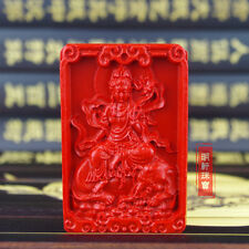 Natural Red Cinnabar Carving Lacquer Chinese Samantabhadra Puxian Pendant