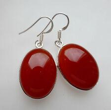 Hook Carnelian Oval Fine Earrings