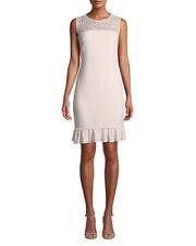c46438973abe KARL LAGERFELD NEW Elegance   its best ROSE Sleeveless Crochet-Yoke Sheath  Dress