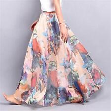 NEW Women's Double Layer Chiffon Floral Elastic Waist Long Skirt Maxi Dress LG