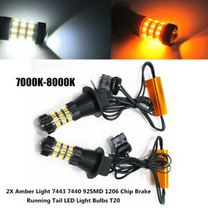 2PCS 360°Car Amber Light 7440 92SMD 1206 Chip Brake Running Tail LED Light Bulbs
