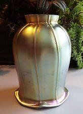 Art Glass Trumpet Shade Iridescent Gold Aurene Lamp Art Nouveau Fixture Globe