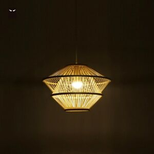 Bamboo Wicker Rattan Pendant Light Retro Country Fixture Nordic Lighting Modern