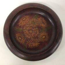 Vintage Australian Poker Work Arts and Crafts Wooden Bowl with Floral Deco #310