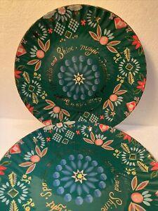 New Anthropologie Danielle Kroll Making Spirits Bright Christmas Dessert Plate 2