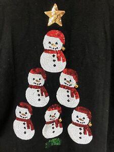 M&Co Christmas Snowman Jumper Size 18 Long Sleeve Sequins, Black, Bells