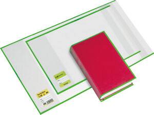 Buchhülle 245 mit Lasche grün grüner Rand, Größe (B x H): 25 x 45 cm, PA=10 Stü