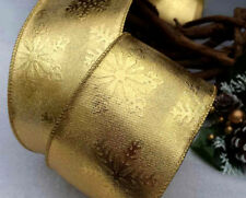 1m  63mm WIRED CHRISTMAS RIBBON SHINY GOLD & SNOWFLAKES,  TREE BOWS GIFT FLORIST