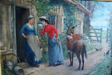 Very Fine & Large Original HENRY BACON (American) Oil Painting c. 1889   antique