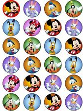 24 Micky & Minnie Mouse Clubhouse Edible ICING Cupcake Topper Party Decoration