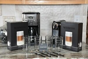 NIB Nespresso Vertuo Recipe Glasses Set Of 4 With 4 Long Spoons