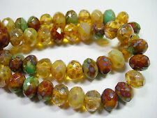 25 8x6mm Champagne Green Blend Picasso Czech Fire polished Rondelle beads