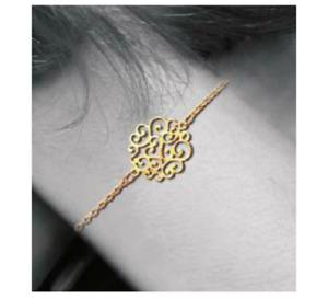 Bracelet ajouré arabesque en Plaqué or 18 Carats Bijoux Femme Neuf