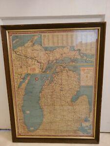 Vintage Framed Pre I-94 Highway 1941 Michigan State Road Map Shell Oil Gasoline