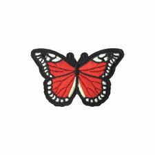 Red Dots Butterfly (Iron On) Embroidery Applique Patch Sew Iron Badge