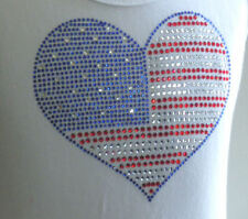 """5.6"""" wide RED WHITE BLUE rhinestone iron-on transfer July 4 American flag"""
