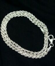 REAL 925 Sterling Silver Rope chain Necklace Diamond Cut 2mm,lobster lock, 18""