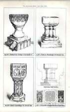1876 Baptismal Fonts St Finbarrus Fowey St Peters Westleigh St Paul Handkey
