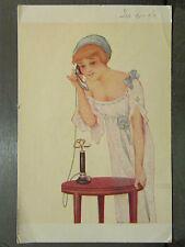 cpa illustrateur signée raphael kirchner oui je t attends elegante telephone