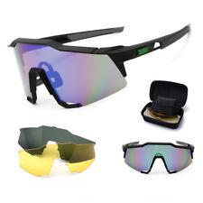 d105287776e Mens Womens 3 Lens UV400 Sports Glasses Driving Cycling Bike Eyewear  Sunglasses
