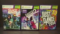 Just Dance 2014 + Dance Central 1 + 2  MicroSoft XBOX 360 Game Lot Tested Works