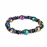 Multicolor Iridescent Magnetic Hematite Bead Stretch Bangle Bracelet US Seller